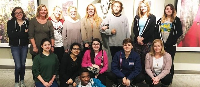 Art Club attended an art show at Beachwood Community Center & met with artist Gene Kangas