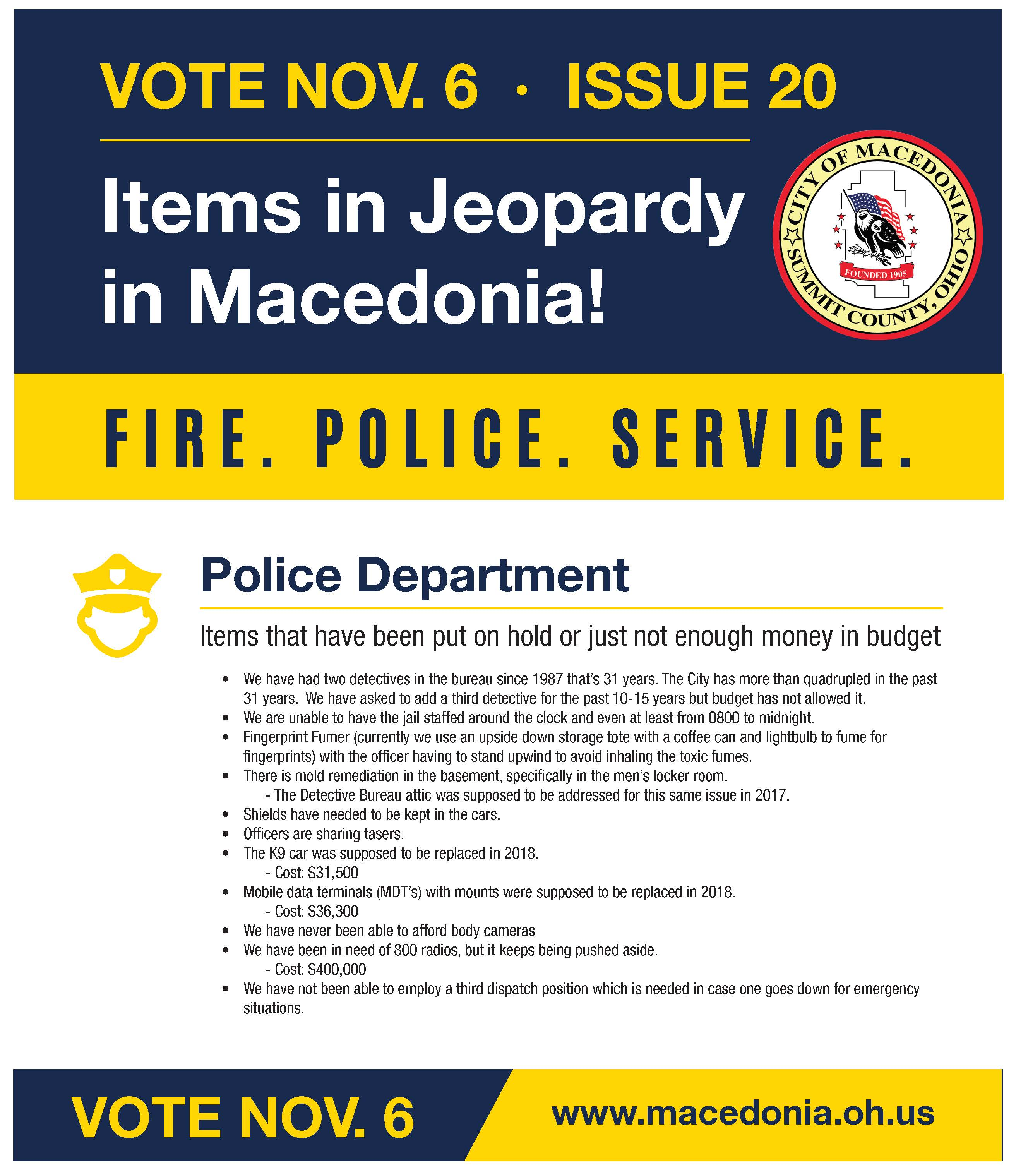 POLICE Jeopardy Items