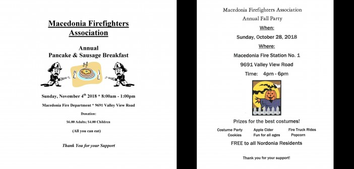 Fire Department Pancake and Sausage Breakfast and Upcoming Halloween Party.