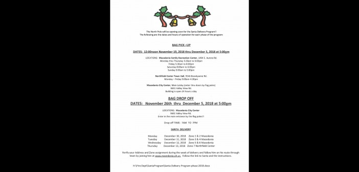 Santa Delivery Program Drop Off and Information Now Available!!