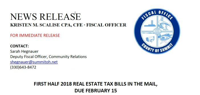 FIRST HALF 2018 REAL ESTATE TAX BILLS DUE FRIDAY