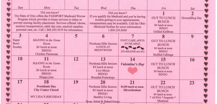 Senior Calendar of Events for February